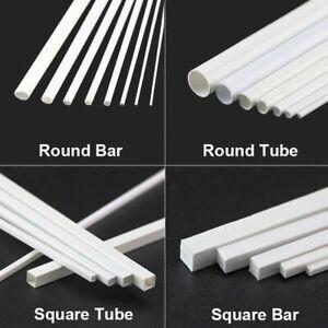 White-ABS-Styrene-Plastic-Strip-Tube-Round-Bar-Rods-Square-Bar-Rod-250mm-Length