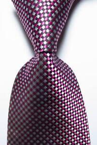 New-Classic-Checks-Red-White-Black-JACQUARD-WOVEN-100-Silk-Men-039-s-Tie-Necktie