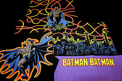 G 3 Remant Pieces Batman 1991 D C Comic Cotton Craft Hobby Applique Quilt Fabric