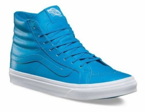 Vans Off the Wall Sk8 Hi Tops Slim Neon Leather Neon Blue Shoes Uomo 5 Donna 6.5