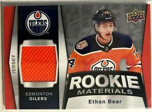 2018-19-Ethan-Bear-Upper-Deck-Rookie-Materials-RM-EB-Edmonton-Oilers