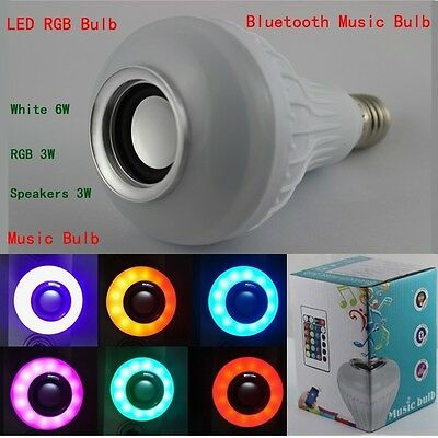 LED RGB Bluetooth Speaker Bulb Wireless E27 12W Power Light Lamp Music Playing