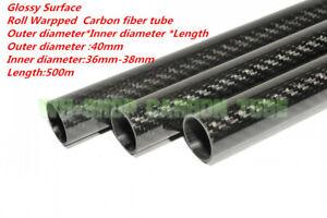 Tubin US 40MM OD X ID 37mm 38mm X 500MM Roll Wrapped Carbon Fiber Tube 3K