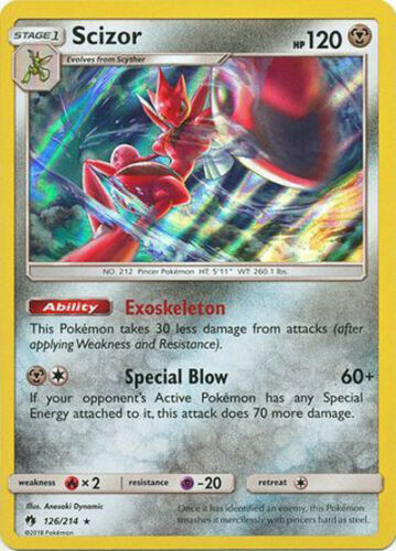 Near Mint Pokemon SM Lost Thunder Scizor #126 Holo Rare Holofoil