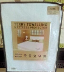 Waterproof-Terry-Towelling-Mattress-Protector-Cover-Fitted-Size-KING-NEW