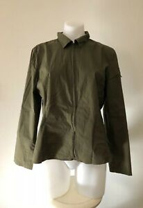 Khaki-Green-The-Limited-Stretch-Shirt-Collared-Long-Sleeve-Zip-Front-Size-L