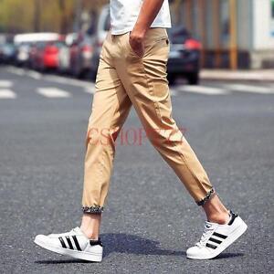New-Korea-Mens-Fashion-Casual-Cotton-Ninth-Pants-Printed-Slim-Fit-Khakis-Summer