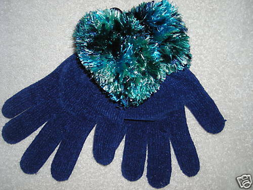 New Women Blue gloves multicolored soft fuzzy cuffs $12