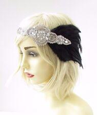 Black Silver Diamante Feather Headband 1920s Great Gatsby Flapper Vintage 2524