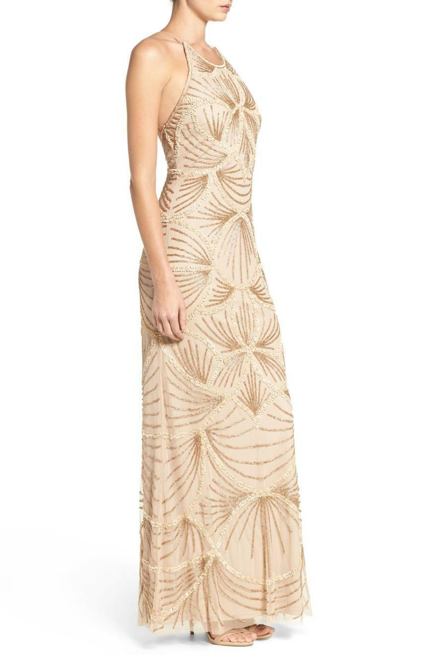 NWT ADRIANNA ADRIANNA ADRIANNA PAPELL Nude Matte Sequin Beaded Embellished Mesh Gown Dress 10 US 2af4db