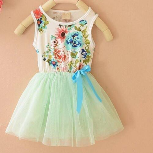 Girls Baby Kids Summer Skirt Toddler Party Bow Flowers Floral Top knot  Dress S
