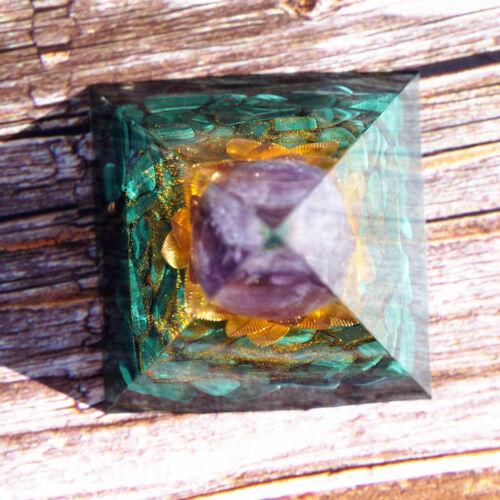 Orgone Pyramid Natural Crystal Orgonite Copper Flower Reiki Healing Meditation