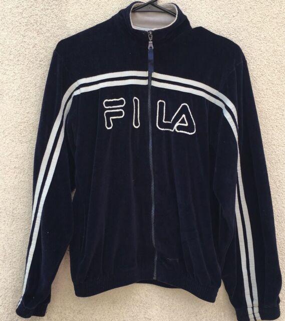 9cd11b684a9d Fila Velour Zip Track Jacket Vintage 80s Blue White Boys Large | eBay
