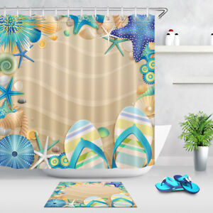 All Kinds of Flip-flops Shower Curtain Liner Waterproof Fabric Bathroom Hooks
