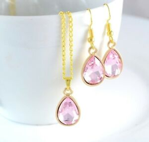 GOLD-TONE-TEAR-DROP-PINK-FACETED-CRYSTAL-PARTY-WEDDING-PENDANT-NECKLACE-EARRINGS