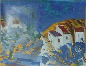 Andre-TELLIER-034-034-presqu-ile-de-Gien-034-GOUACHE-amp-ACRYLIQUE-vers-1960-70