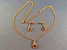 Simulated Black Onyx Fashion Jewelry Gold Tone Necklace Earrings