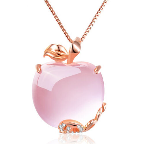 Apple Shaped Pink Opal  Necklace Pendant With Rhinestone Chain Rose Gold Plated