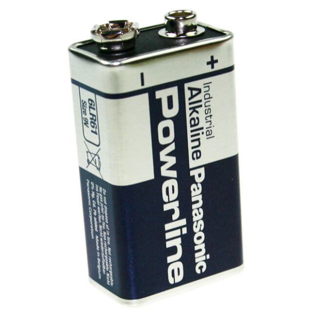 4 x Panasonic 9V Block lose Alkaline Industrial Powerline 6LR61  E-Block