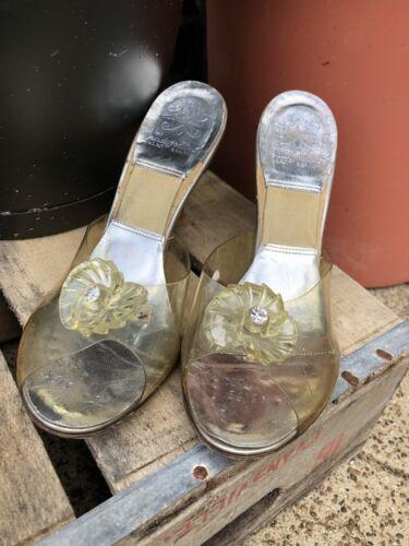 Vintage 1950s Peep Toe Lucite Cinderella Heels Mul