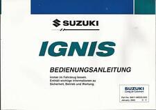 SUZUKI IGNIS manuale di istruzioni 2003 MANUALE MANUALE bordo libro BA