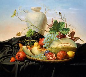 Beautiful Oil painting still life fruits Sweet melons pomegranate pot canvas art