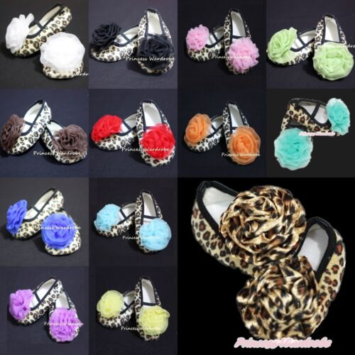 Infant Baby Girls Leopard Crib Shoes Rosettes 0-18Mos
