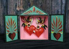 Love Birds Hearts My Love Hand Made Reliquary Retablo Doors Nicho Folk Art Peru