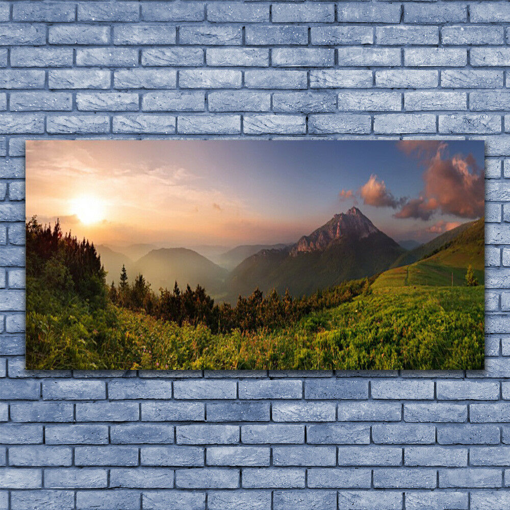 Acrylic print Wall art 140x70 Image Picture Mountain Forest Nature