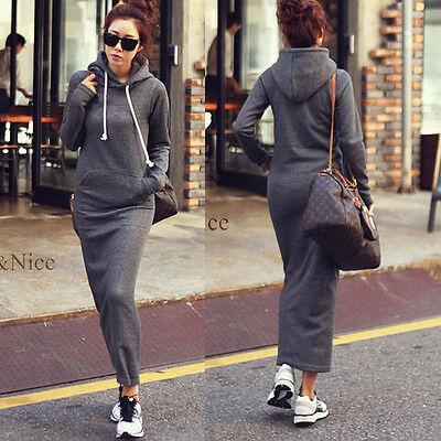 Retro Women Fleece Autumn Winter Slim Hoodie Bodycon Sweater Long Maxi Fur Dress