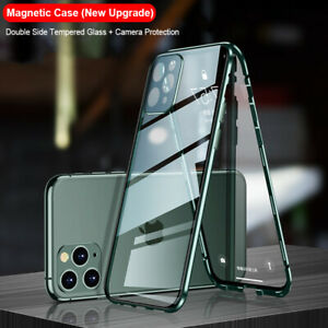 Magnetic Metal Case Camera Lens Cover Tempered Glass For iPhone 12 11 Pro Max XS