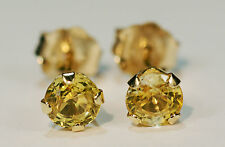 AMAZING GENUINE MINED PALE YELLOW SAPPHIRE EARRINGS~14 KT YELLOW GOLD~4MM