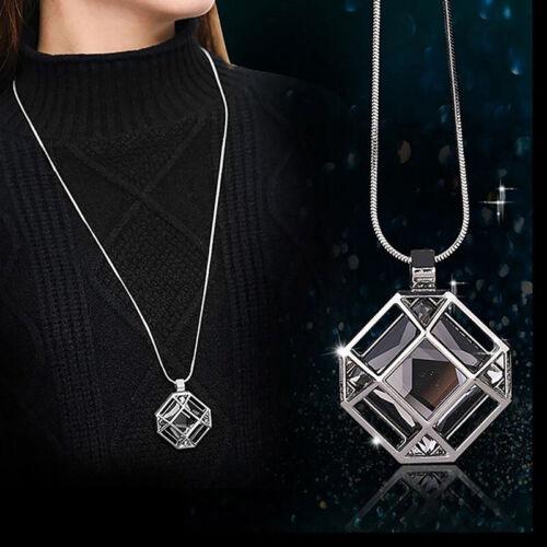 Women Geometric Square Pendant Necklace Sweater Chain Hollow Long Jewellery 8C