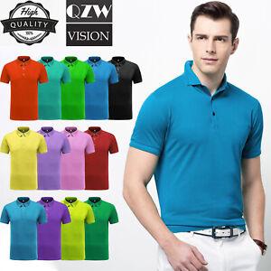 Mens-Dri-Fit-Quick-Dry-Golf-Polo-Shirt-Sport-Shirt-Jersey-T-Shirt-Cotton-Casual