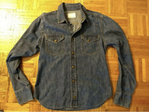 Billy Reid Men's Denim Button Up Western Shirt Sma