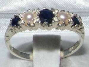 Solid-9ct-White-Gold-Natural-Sapphire-amp-Pearl-Vintage-Style-Band-Ring