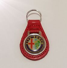 ALFA ROMEO RED LEATHER KEYRING, KEY CHAIN, KEY FOB