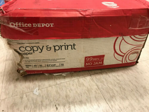 Office Depot Legal Copy Paper 90 Brite 8.5 x 14 White 5000 sheets 20 lbs
