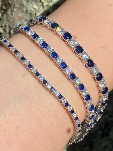 Tennis-Bracelet-SOLID-925-Sterling-Silver-Single-Row-Diamond-amp-Blue-Sapphire