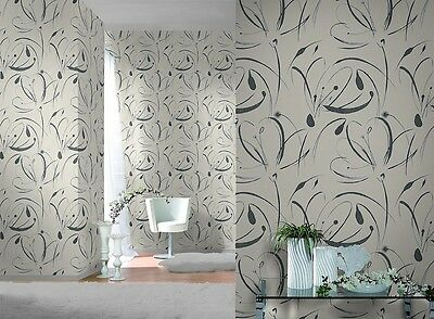 GREY BLACK CREAM WHITE SWIRLS TEXTURED QUALITY FEATURE WALLPAPER 790917 RASCH