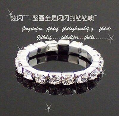 FD355 18K Silver Plated Princess Queen Ring Rhinestone Diamond Ring Elastic 1pc