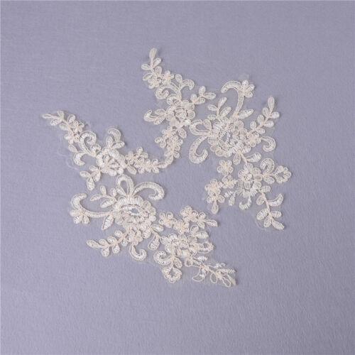 1 par de flores de encaje recortar la boda vestido de novia de la ropa apliquePD