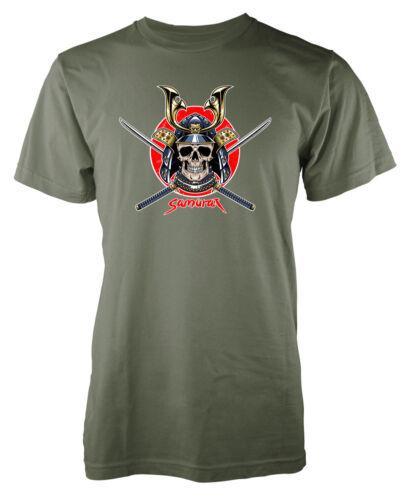 Samurai Crâne Japonais Ninja Warrior Sword Adult T-Shirt