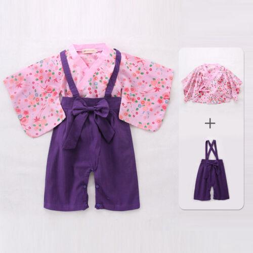 Toddler Kids Baby Boy Girl Kimono Coat Romper Japanese Costume Floral Jumpsuit