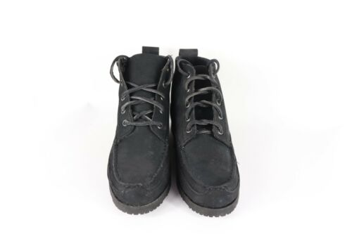 New Vintage 90s Women/'s Size 8 Suede Leather Lace Up Chukka Ankle Boots Black