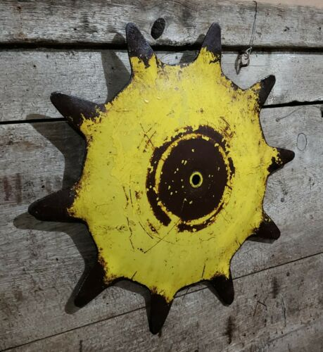 John Deere Steel Spike Wheel Cultivator  Industrial Steampunk Garden  SUN Art!