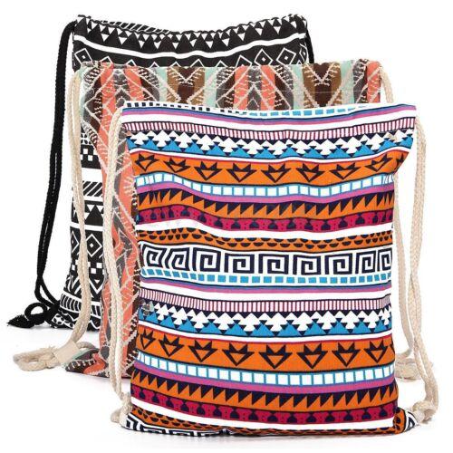 Canvas Bobo School Drawstring Book Storage Bag Sport Gym Swim PE Dance Backpack