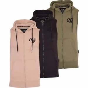 Crosshatch-Mens-Sleeveless-Hoodie-Zip-Gilet-Sweatshirt-Bodywarmer-Gym-Top