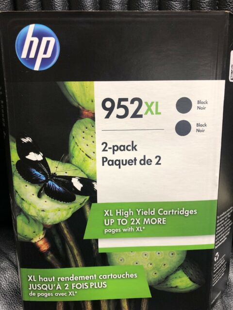 HP 952XL 952 XL Black High Yield Ink Cartridges Twin Pack EXP: 2021 (N9K29BN)