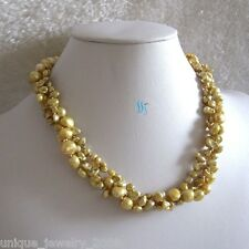 """18"""" 4-9mm 3Row Keshi Baroque Champagne Freshwater Pearl Necklace"""